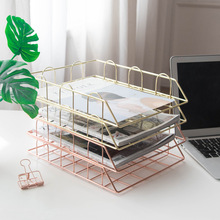 Gold Metal Tray Desk Accessories Magazine Rack Manual Document Office Organizer Hierarchical Storage Paper Office Stationery