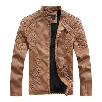 ¡Moda 2020! chaqueta De cuero De motociclista para hombre, chaqueta De piel sintética ajustada para hombre, chaqueta Masculina De cuero