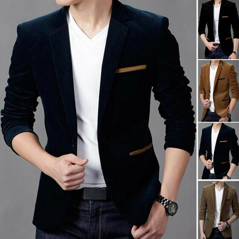 2019 Fashion Men Slim Fit Blazer Formal Suit Jacket One Button Casual Coat Long Sleeve Dress Jacket Autumn Winter Corduroy Solid
