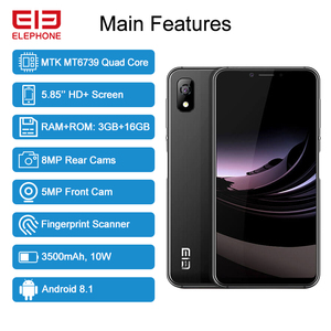 "Image 2 - ELEPHONE A4 3GB 16GB Mobile Phone 8MP Rear Cam Android 8.1 5.85"" HD+ 18:9 Notch Screen 5MP Face ID MTK6739 Quad Core Cellphone"