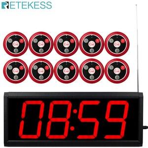 Image 1 - Receptor receptor de pantalla Retekess con Control de PC + botón de llamada 10 T117 sistema de llamadas inalámbrico restaurante paginación servicio al cliente
