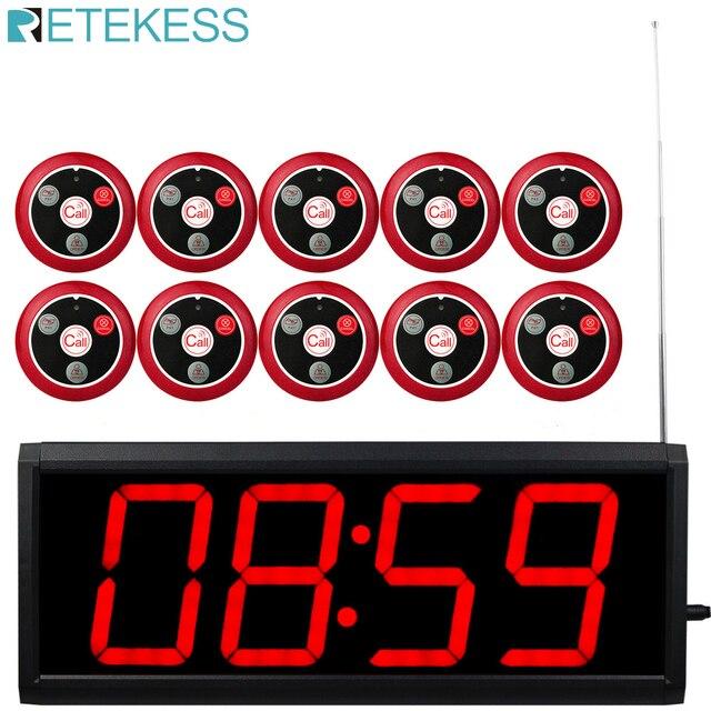 Receptor receptor de pantalla Retekess con Control de PC + botón de llamada 10 T117 sistema de llamadas inalámbrico restaurante paginación servicio al cliente