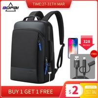 BOPAI 2019 Backpack Men Enlarge Anti theft Business Backpack for 15.6inch Laptop Black Back Pack School Backpack