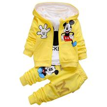 2020 New Chidren Kids Boys Clothing Set Autumn Winter 3 Piece Sets Hooded Coat Suits Fall Cotton Baby Boys Clothes Mickey цена 2017