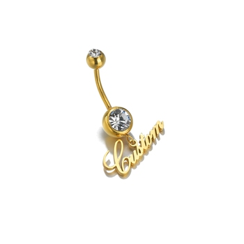 Custom 1pc Name Sexy Navel Piercing Belly Button Rings Bar For Woman Personalized Name Dangling Zircon Body Jewelry 2