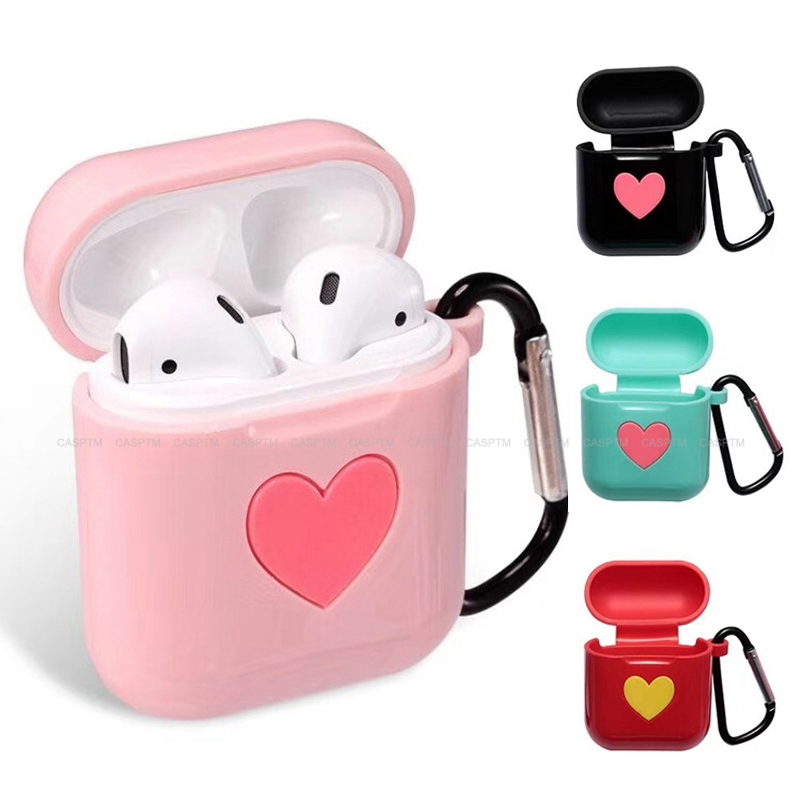 Sweet Heart Soft Silicone Case For Apple Airpods 2 1 Shock Proof Protector Cover Anti Lost Case Earphone Cover For Apple Airpods