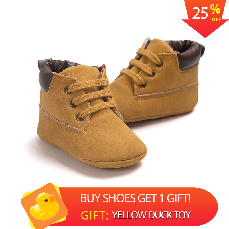 2018 Spring / Autumn Infant Baby Boy Soft Sole PU Leather First Walkers Crib Shoes 0-18 Months
