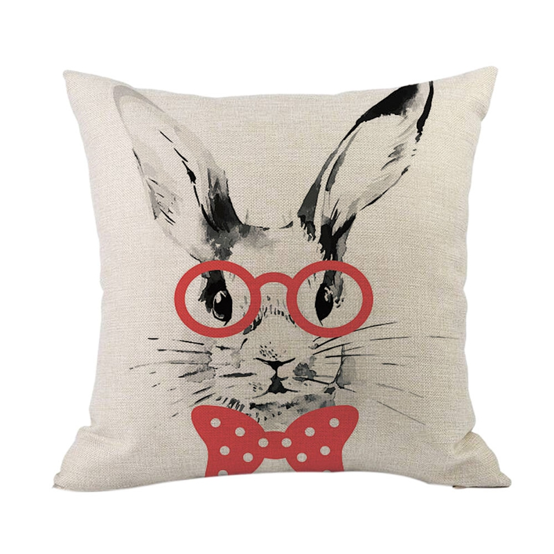 Happy Easter Sofa Bed Home Decoration Festival Pillow Case Cushion Cover Easter Rabbit