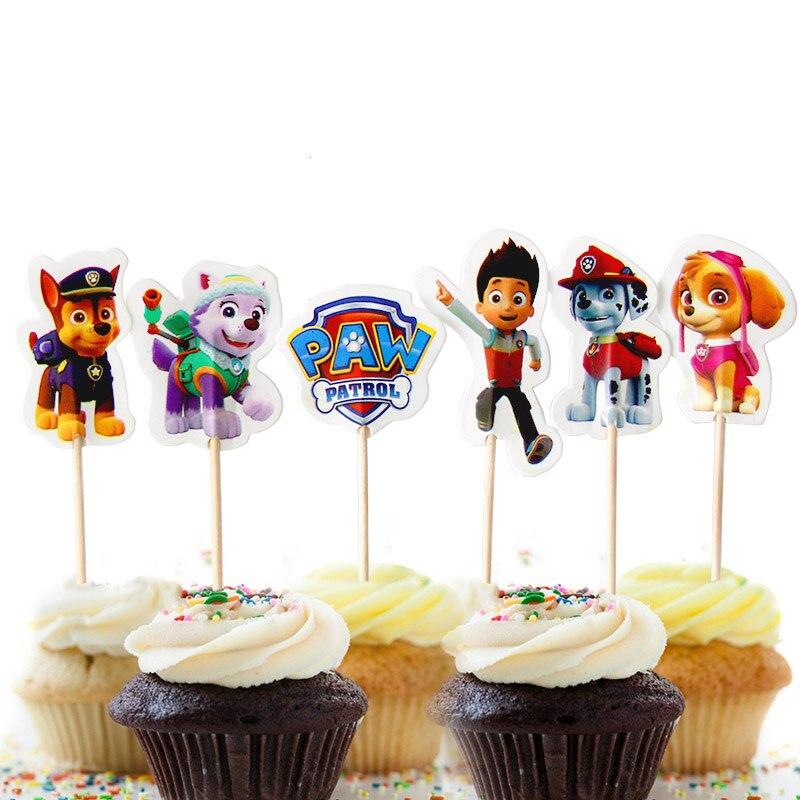 24pcs Paw Patrol Cake Card Fruit Plug-in Children Birthday Party Supplies Plugin Puppy Patrol Birthday Toys Set 10CM