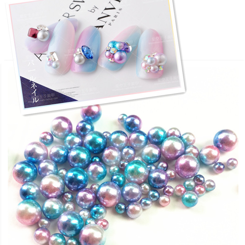 Japanese-style Symphony Circle Mermaid Pearl Semicircle Gradient Color Pearl Nail Ornament Phototherapy Nail DIY Stickers