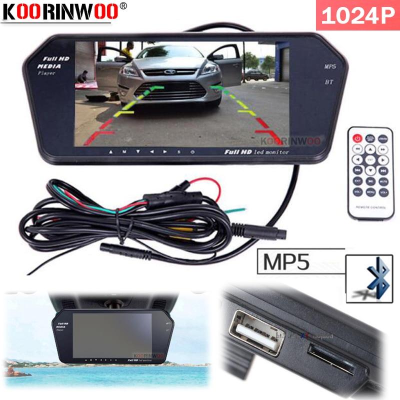 Koorinwoo Latest High Resolution 1024*600 7 TFT LCD Car Rear View Mirror Monitor Bluetooth/MP5 Usb/SD Slot Revese Parking Assist