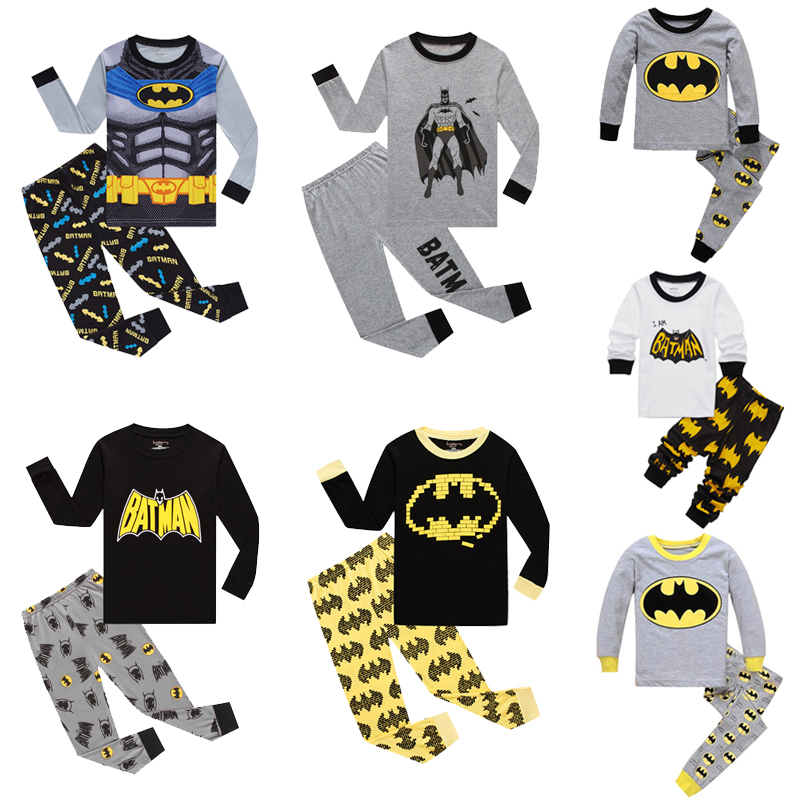 2019 Pajamas Kids Batman Sleepwear <font><b>Children</b></font> Cartoon Clothing Set Baby Long Sleeve Pijamas Home Clothing for Boys T-shirt+Pants image