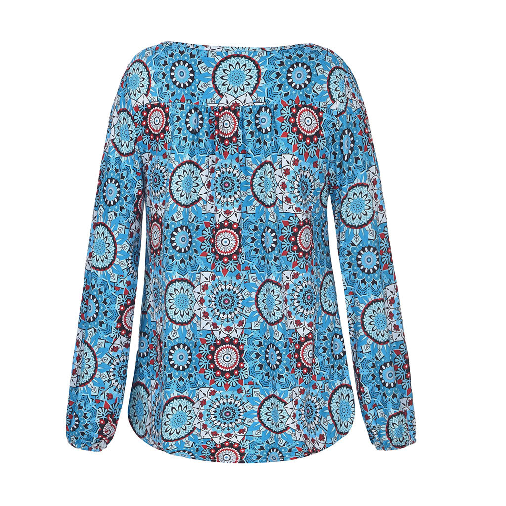 women t shirt autumn and winter long sleeves print Women 39 s Fashion Rope Long Sleeve Floral Print V Neck Long Sleeved Shirt in T Shirts from Women 39 s Clothing