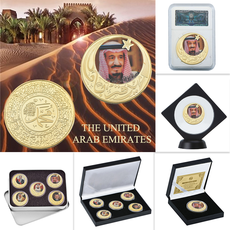 WR Leader Of The Dubai UAE Gold Plated Coins Collectibles Original Coin Set With Holder Souvenir Medal Gift Set Dropshipping2019