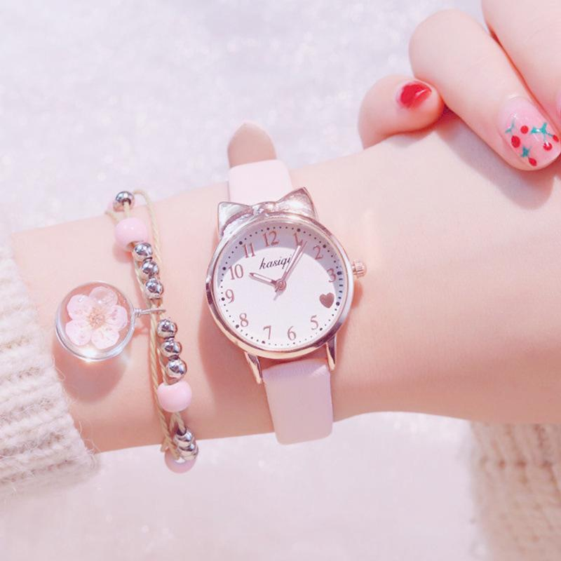 Cute Ladies Watch Cat Pink Women's Watches Sets Leather Straps Simple Women Watch With Flower Bracelet Reloj Mujer Montre Femme