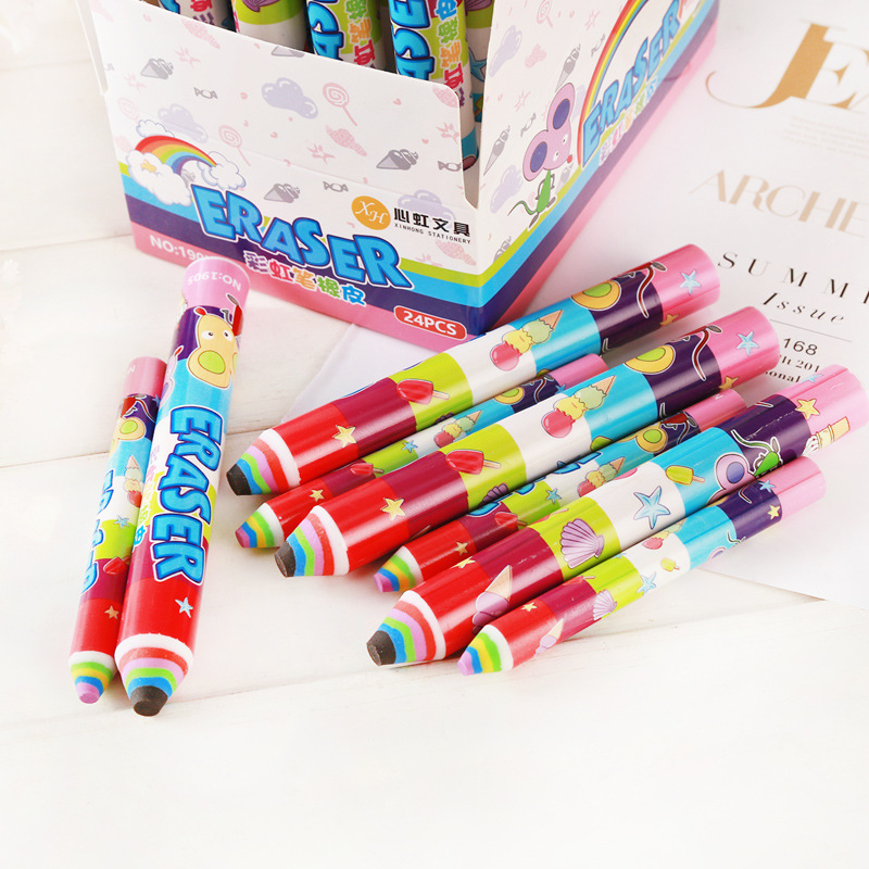 1 Pcs Creative Rainbow Pen Eraser Cute Cartoon Student Stationery Color Office School Children Eraser Writing Drawing Tools