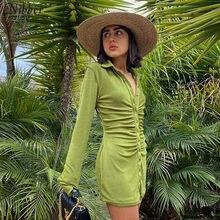Nibber automne pile conception flanelle plissée robes moulantes pour les femmes Enegant fête rue décontracté à manches longues Mini robe femme