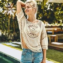 CUPSHE العاج الكروشيه غطاء الكسوة المستديرة حتى امرأة مثير قطع شاطئ علوي 2020 الصيف ثوب السباحة ملابس للنساء