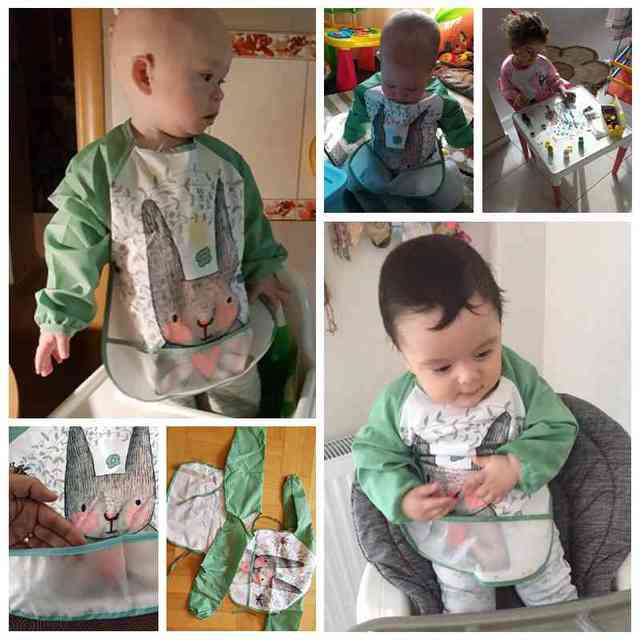 2020 śliczne śliniaki dla dzieci maluch Baberos Bavoir wodoodporny fartuch z długim rękawem zwierzęta kreskówkowe dzieci śliniaczek do karmienia Bib Baby Stuff