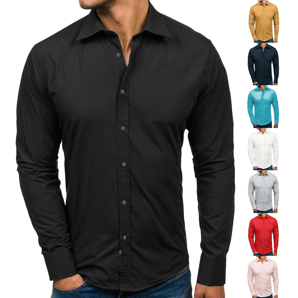 Men Casual Solid Design Buttons Shirt Long Sleeve Top Blouse Business Shirts Men Chemise Homme Solid Color Men Shirt