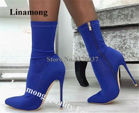 Linamong Sexy Slim Pointed Toe Suede Leather Stiletto Heel Short Boots Banded Blue Yellow Ankle Booties Dress Heels Party Shoes