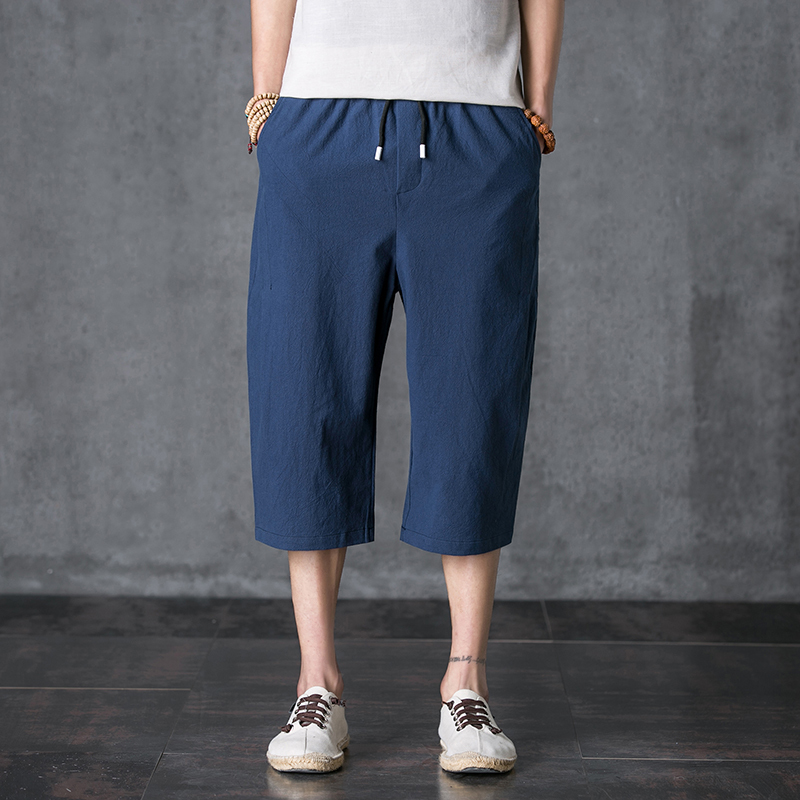2020 New Fashion Popular Cool Comfortable Solid Color Lace-up Men's 7-point Pants  1055
