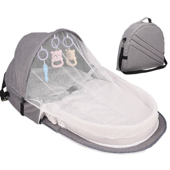 3Pcs Portable Bed Foldable Baby Bed Travel Sun Protection Mosquito Net Breathable Soft Infant Folding Sleeping Basket With Toys - Gray Shoulder Bags, Russian Federation