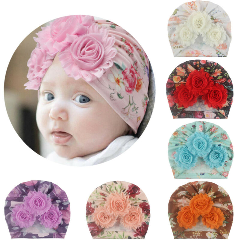 Newborn Baby Girl Boy Bow Knot Flower Cute India Cap Turban Headband Wrap Hat US