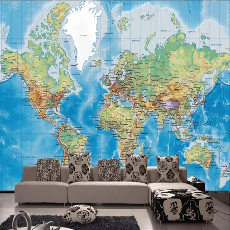 Custom 3D Photo Wallpapers HD Satellite Shooting World Map Mural Wallpapers for Living Room Bedroom Study