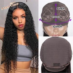 Image 4 - Angel Grace 13x6 bouclés dentelle avant perruque de cheveux humains brésilien crépus bouclés perruques sans colle dentelle fermeture perruques de cheveux humains pré plumés