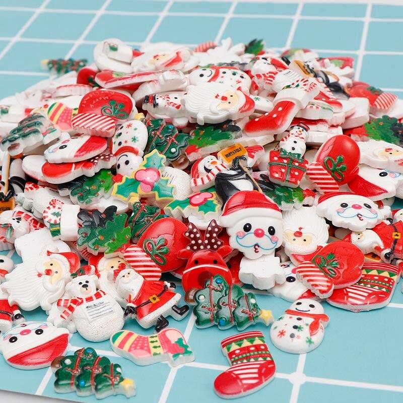 120 шт. мультяшный смешанный стиль рождественский кабошон с плоской задней стороной Рождественская елка Снеговик обувь подарок мультяшный С...