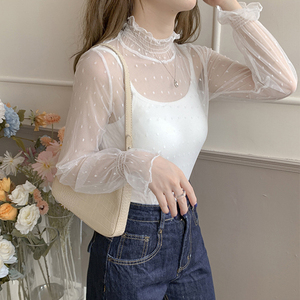 Sexy Lace Mesh Shirt Women Fashion Long Sleeve Bottoming Shirt High Neck Transparent Undershirt Female Floral Dot Print Base Top