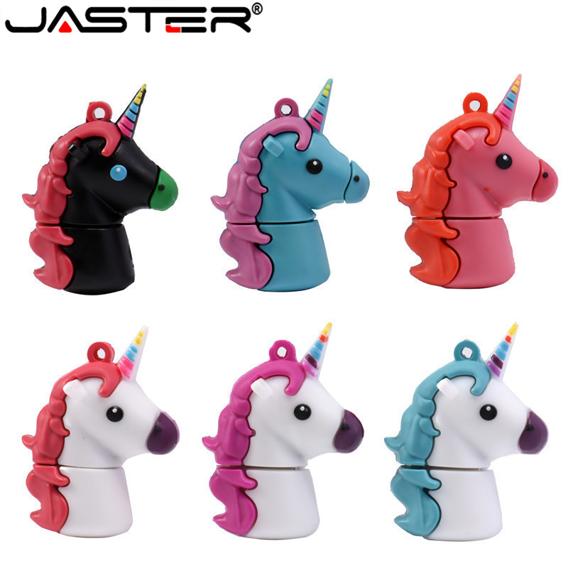 JASTER Unicorn Silicone USB Flash Drive 32GB 64GB Pendrive 16GB Waterproof Pen Drive USB 2.0 USB Disk Memory Stick Flash Drive