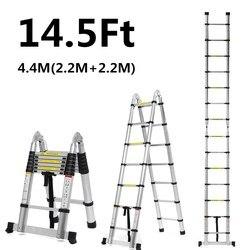 2,2 m + 2,2 m 14 pies escalera plegable escaleras telescópicas de aluminio de doble uso escalera de espiga multifuncional herramientas de extensión única