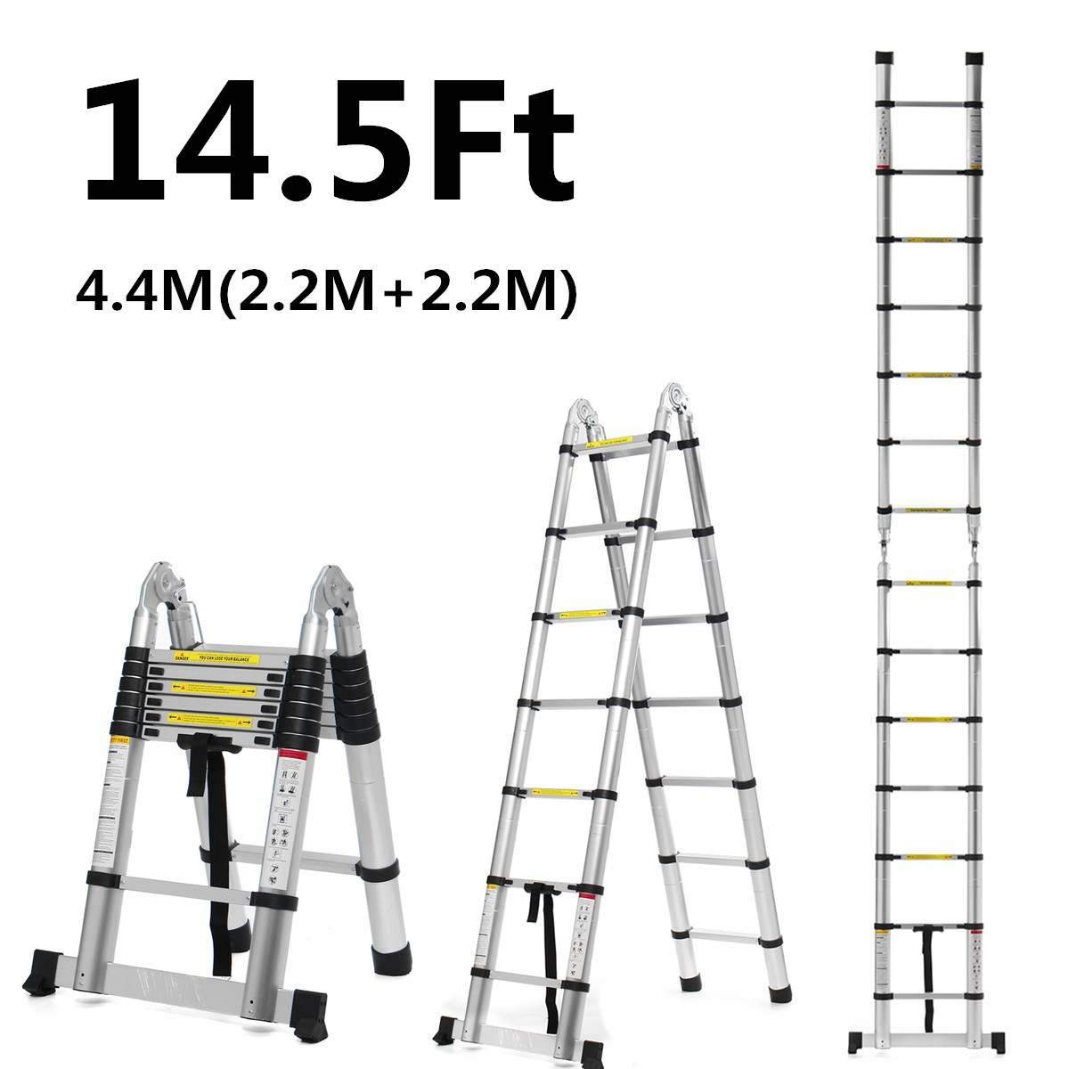 2.2m+2.2m 14.5Ft Folding Ladder Telescopic Ladders Aluminium Dual-Use Herringbone Ladder Multifunctional Single Extension Tools