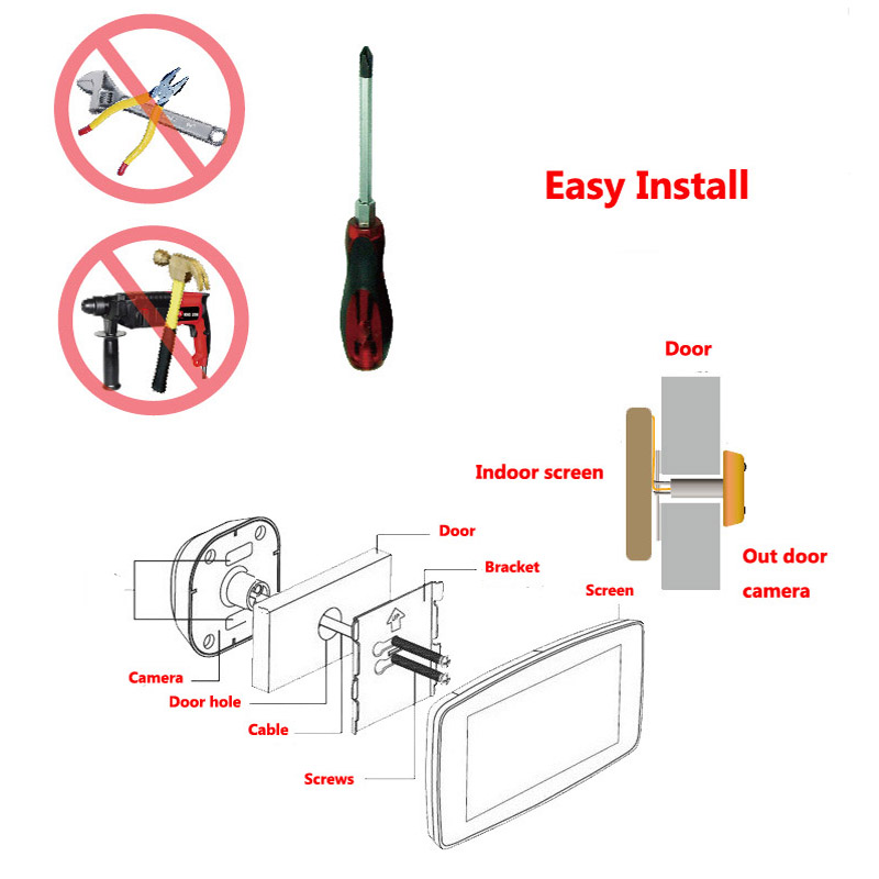 "Купить с кэшбэком Topvico Peephole Door Camera Wifi Doorbell Intercom Doorbell Video 4"" Monitor Motion Detection Video-eye Viewer Wireless Ring"