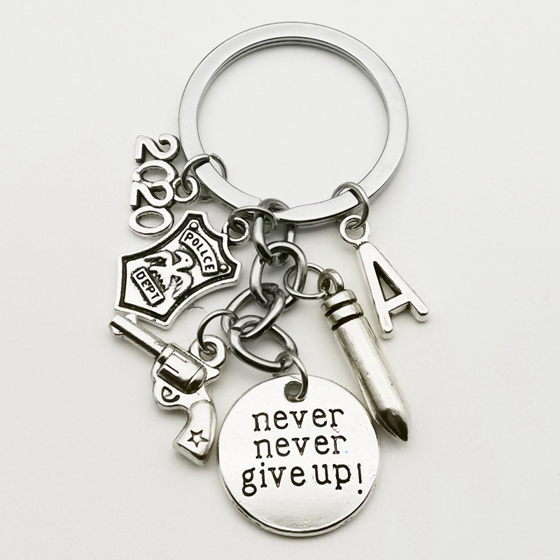 New A-Z Retro Mini Police Keychain Police Badge Never Give Up Keychain Exquisite Graduation Gift Keychain DIY Handmade Ornament