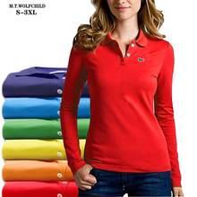 Polos manches longues en coton pour femmes, nouveau, à la mode, Logo brodé, hauts unie