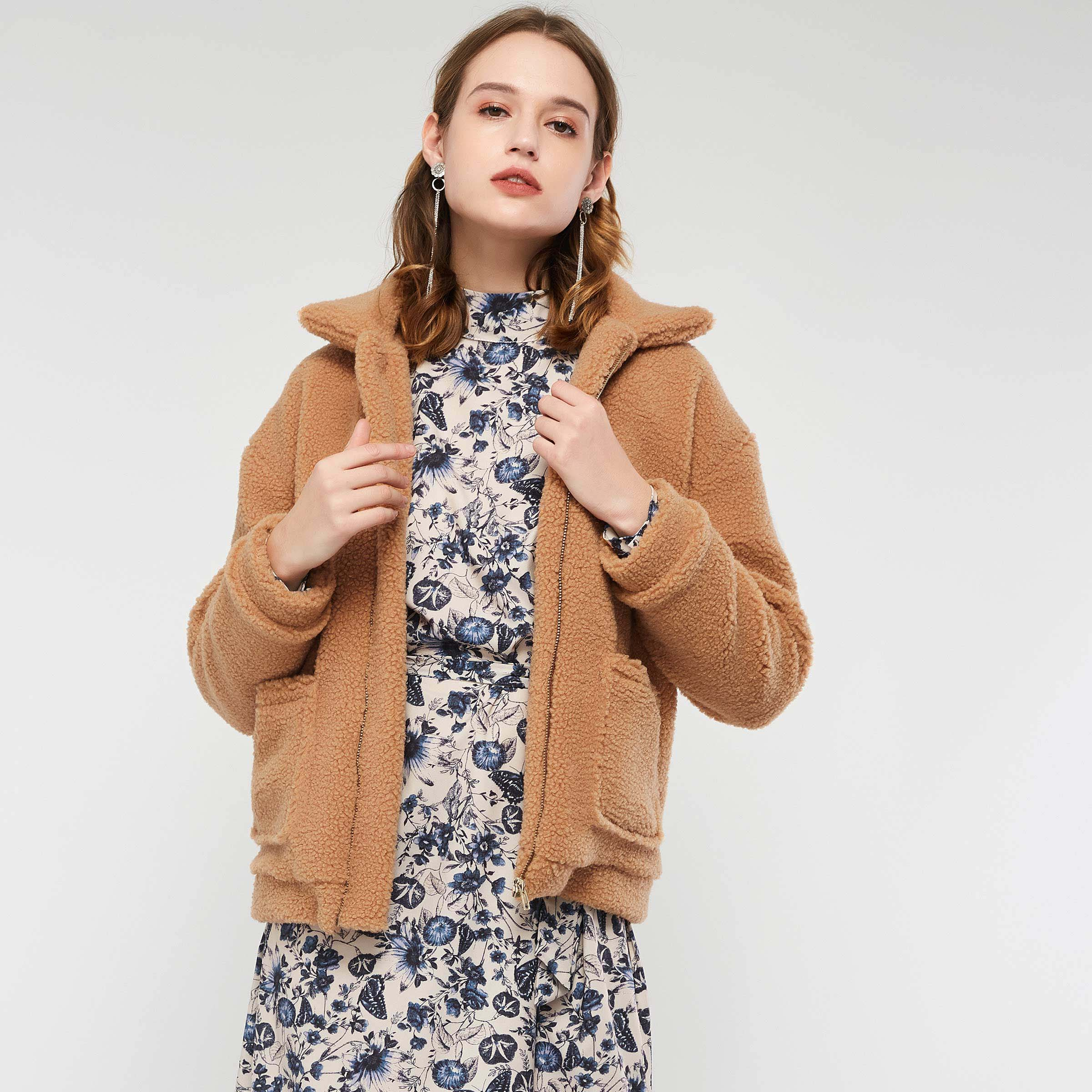Winter Brown Women Overcoat Thick Warm Pockets Basic Fur Outwear Coat