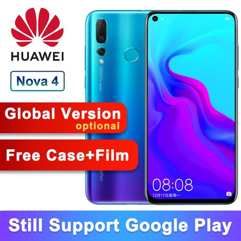 Version mondiale en option Huawei Nova 4 Smartphone Android 9.0 kirin 970 Octa Core AI caméra 6.4 pouces 4 * caméras 3750mAh téléphone portable