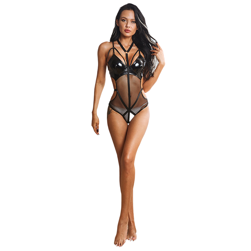 See Through Leotard Sexi Women Suspenders Leather Sexy Lingerie Mesh Transparent Erotic Underwear Ladies Bodysuit Catsuit Sex
