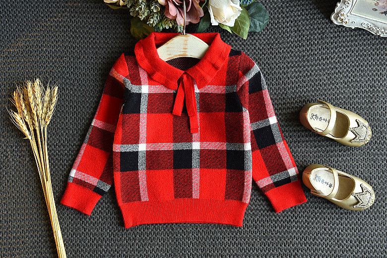 Baby Girls Winter Clothes Set Christmas Outfits Kids Girls Plaid Knit Sweater&skirt Fall Girl Clothing Set Children Costume 25