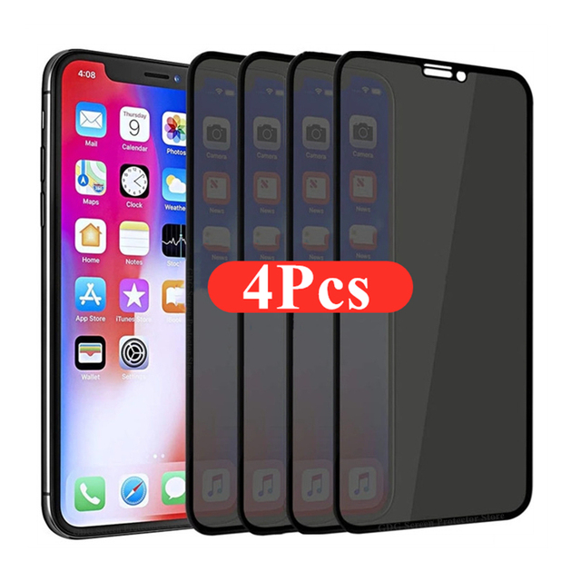 1-4Pcs 30 Degrees Privacy Screen Protectors for IPhone 12 11 Pro Max 13 Mini Anti-spy Protective Glass for IPhone XS XR X 7 Plus 1
