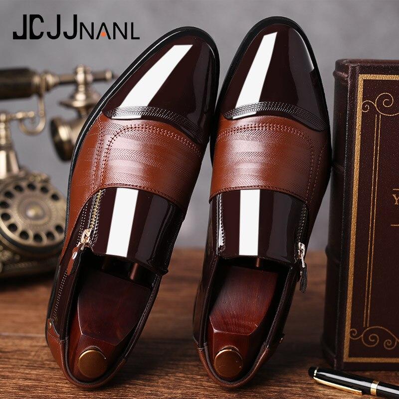 Hot Sale JCJJNANL Classic Business Men's Dress Shoes Fashion Elegant Formal  Wedding Shoes Men Slip On Office Oxford Shoes For Men Black