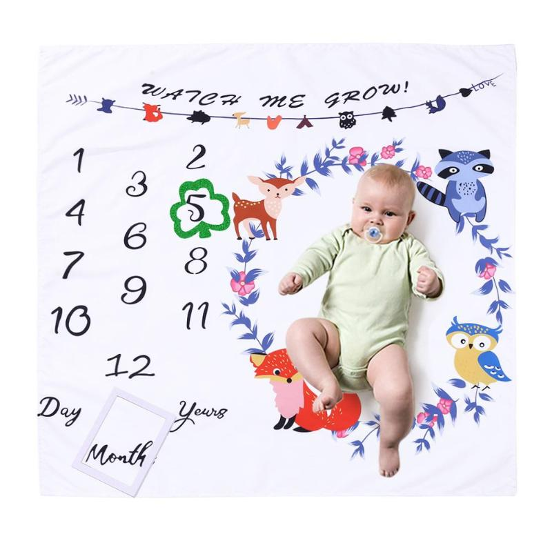 Baby Blanket Newborn Swaddle Stroller Bedding Wrap Photo Background Cloth Monthly Growth Number Photography Props Rug Mat