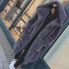 Winter Coat Jacket Hoodies Feminine-Coat Faux-Fur Furry Warm Long Thick Loose Casual
