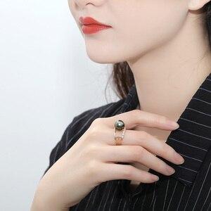 Image 5 - [YS] bague de fiançailles en or 18k, perle de tahiti, naturelle, noire, cultivée, 10 à 11mm