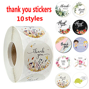 500Pcs/roll 10 Types Floral Thank You Sticker for seal label scrapbooking christmas sticke decoration sticker Stationery Sticker(China)