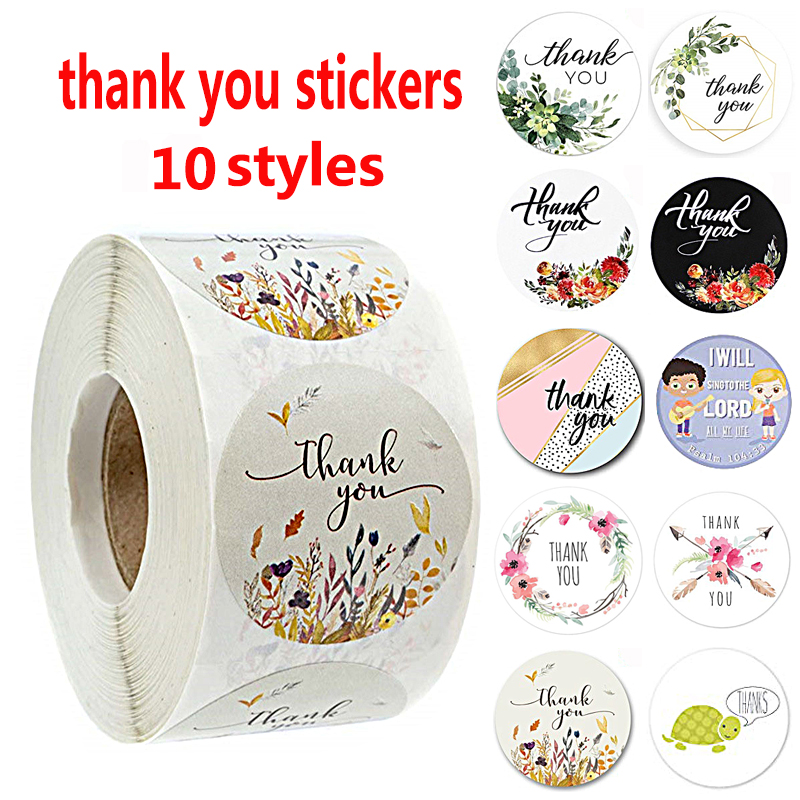 500Pcs/roll 10 Types Floral Thank You Stickers For Seal Label Scrapbooking Christmas Gift Decoration Stickers Stationery Sticker