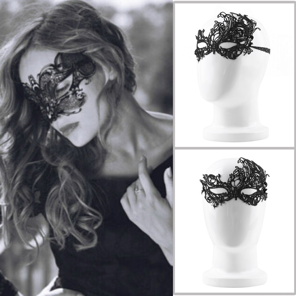 2018 Women Black <font><b>Halloween</b></font> Masquerade <font><b>Sexy</b></font> Lady <font><b>Lace</b></font> <font><b>Mask</b></font> Cutout Eye <font><b>Mask</b></font> Hot Sale Costumes Accessories image